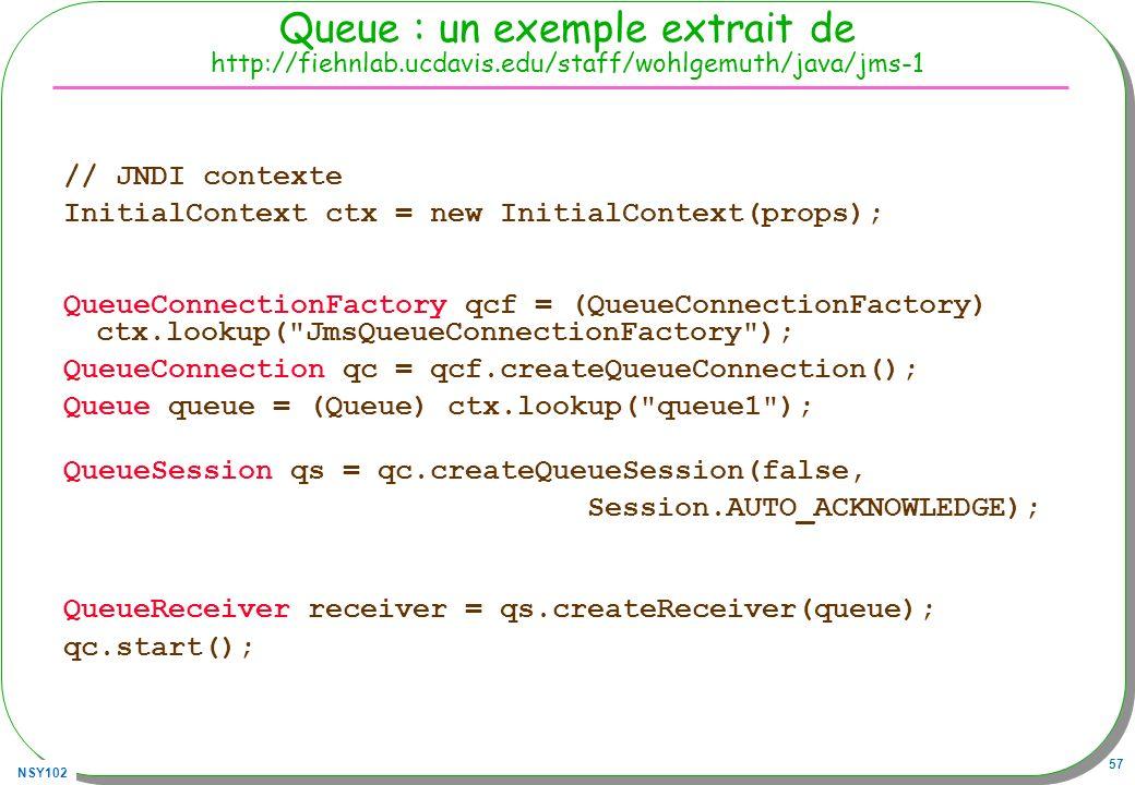 NSY102 57 Queue : un exemple extrait de http://fiehnlab.ucdavis.edu/staff/wohlgemuth/java/jms-1 // JNDI contexte InitialContext ctx = new InitialConte