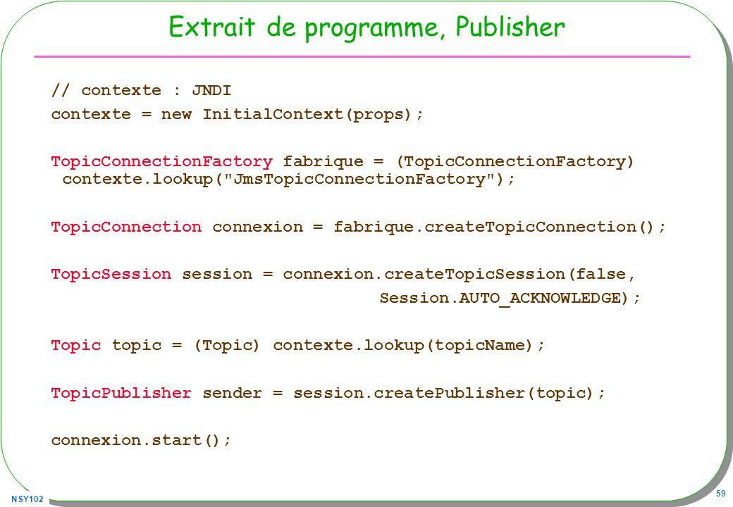 NSY102 59 Extrait de programme, Publisher // contexte : JNDI contexte = new InitialContext(props); TopicConnectionFactory fabrique = (TopicConnectionF