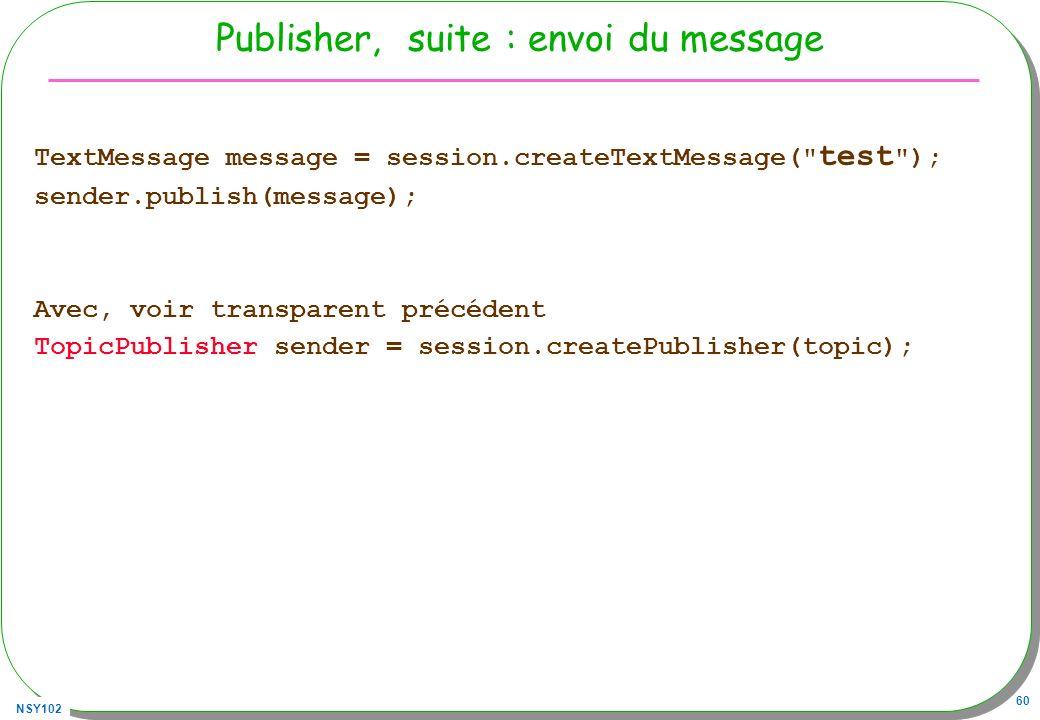 NSY102 60 Publisher, suite : envoi du message TextMessage message = session.createTextMessage(
