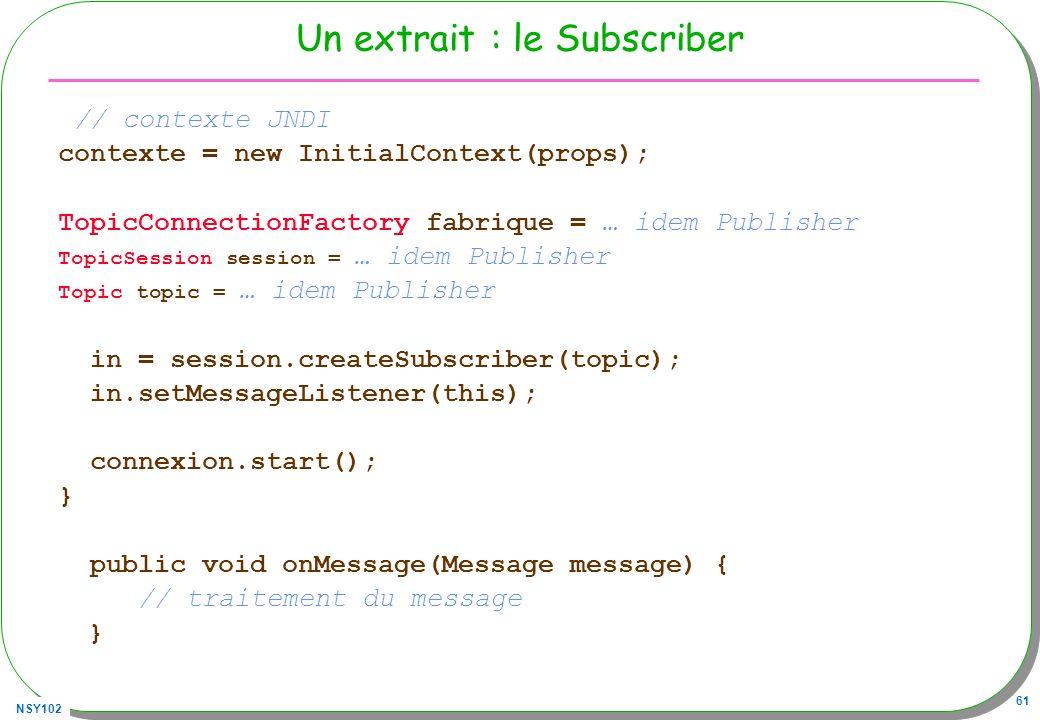 NSY102 61 Un extrait : le Subscriber // contexte JNDI contexte = new InitialContext(props); TopicConnectionFactory fabrique = … idem Publisher TopicSe