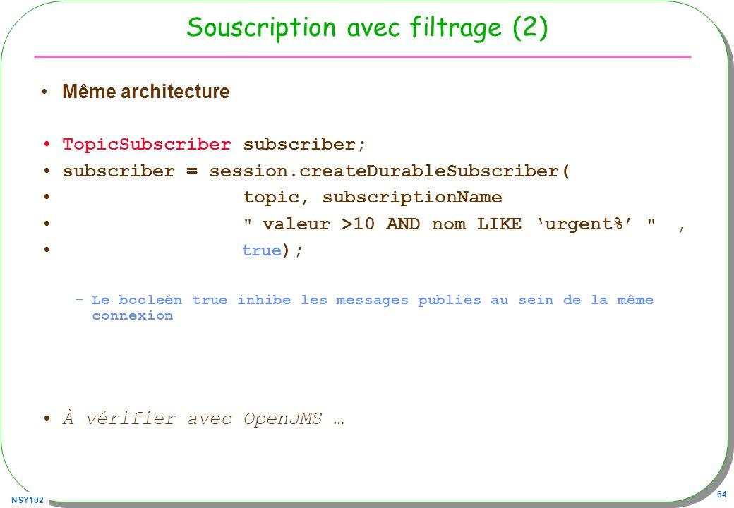 NSY102 64 Souscription avec filtrage (2) Même architecture TopicSubscriber subscriber; subscriber = session.createDurableSubscriber( topic, subscripti