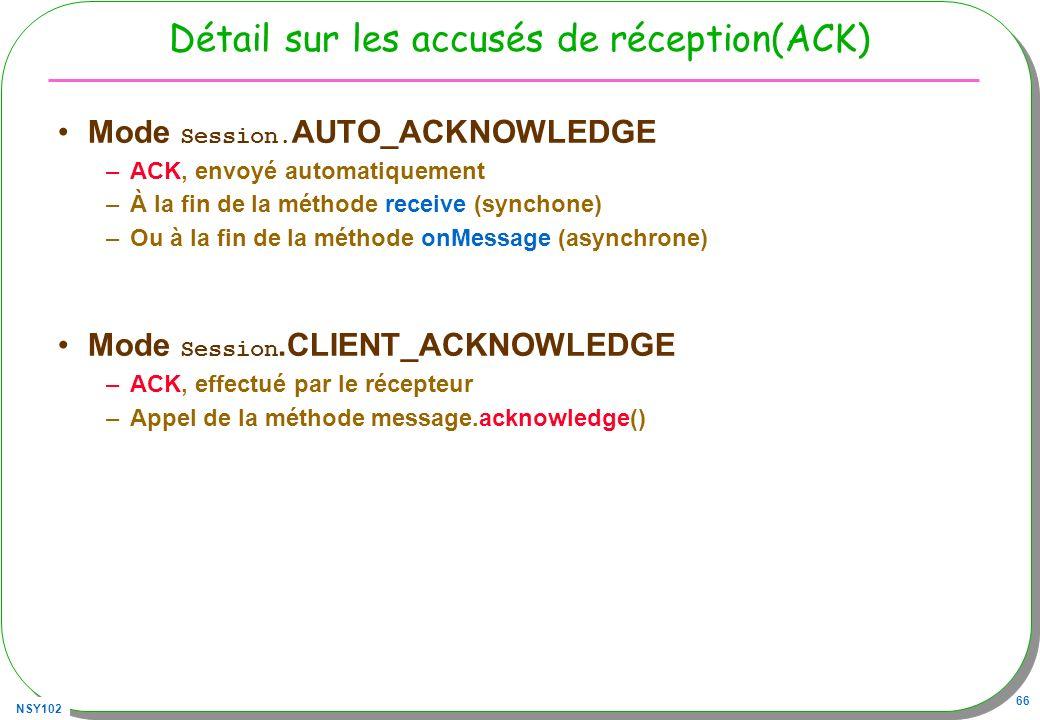 NSY102 66 Détail sur les accusés de réception(ACK) Mode Session. AUTO_ACKNOWLEDGE –ACK, envoyé automatiquement –À la fin de la méthode receive (syncho