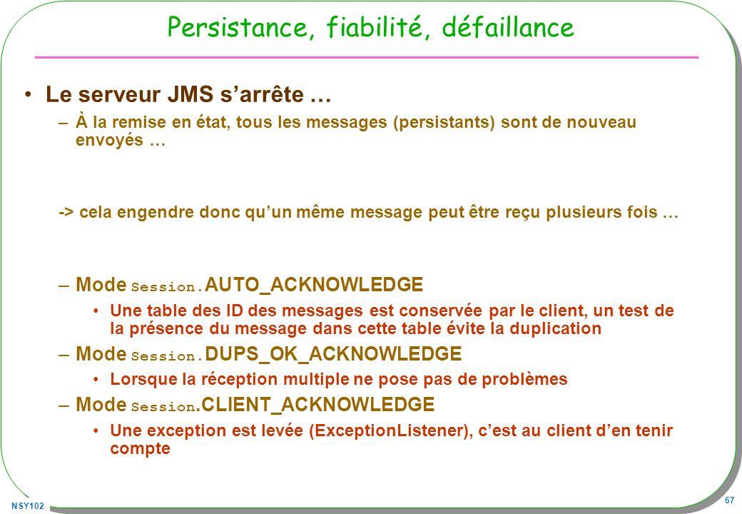 NSY102 67 Persistance, fiabilité, défaillance Le serveur JMS sarrête … –À la remise en état, tous les messages (persistants) sont de nouveau envoyés …