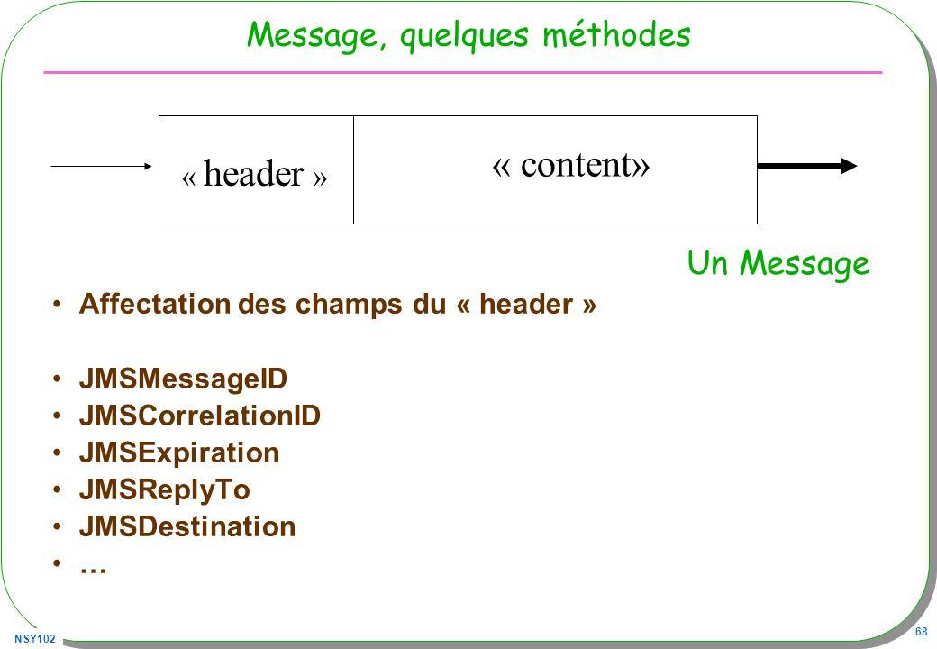 NSY102 68 Message, quelques méthodes Affectation des champs du « header » JMSMessageID JMSCorrelationID JMSExpiration JMSReplyTo JMSDestination … Un M