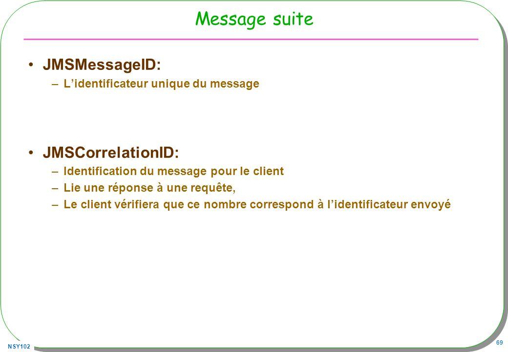 NSY102 69 Message suite JMSMessageID: –Lidentificateur unique du message JMSCorrelationID: –Identification du message pour le client –Lie une réponse