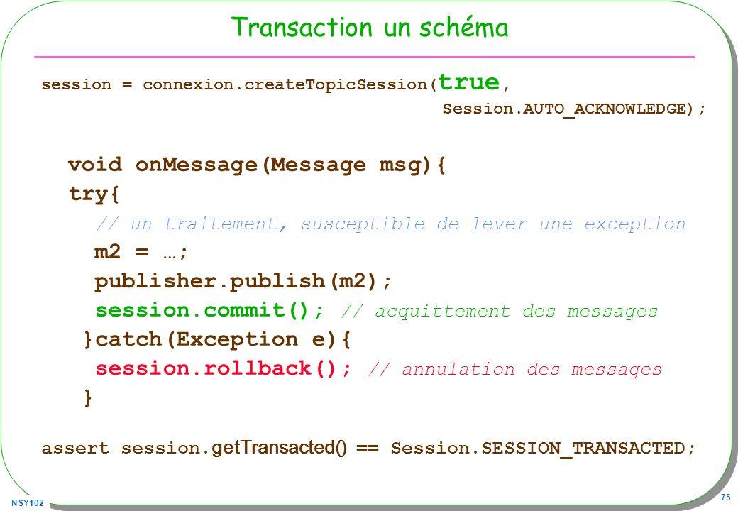 NSY102 75 Transaction un schéma session = connexion.createTopicSession( true, Session.AUTO_ACKNOWLEDGE); void onMessage(Message msg){ try{ // un trait