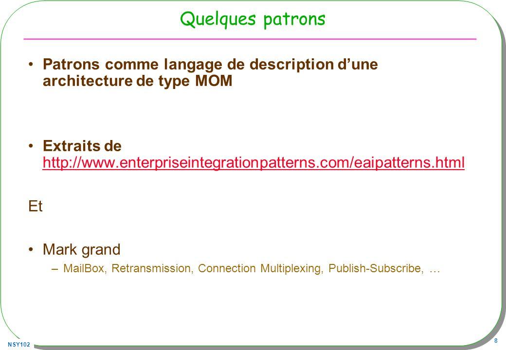 NSY102 59 Extrait de programme, Publisher // contexte : JNDI contexte = new InitialContext(props); TopicConnectionFactory fabrique = (TopicConnectionFactory) contexte.lookup( JmsTopicConnectionFactory ); TopicConnection connexion = fabrique.createTopicConnection(); TopicSession session = connexion.createTopicSession(false, Session.AUTO_ACKNOWLEDGE); Topic topic = (Topic) contexte.lookup(topicName); TopicPublisher sender = session.createPublisher(topic); connexion.start();