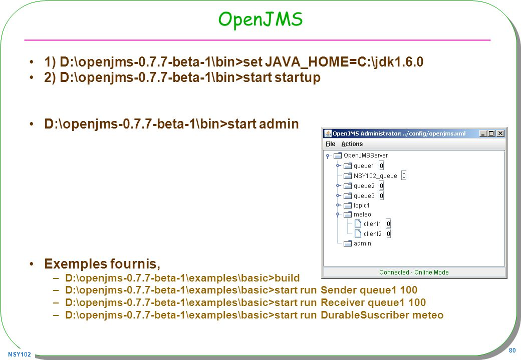 NSY102 80 OpenJMS 1) D:\openjms-0.7.7-beta-1\bin>set JAVA_HOME=C:\jdk1.6.0 2) D:\openjms-0.7.7-beta-1\bin>start startup D:\openjms-0.7.7-beta-1\bin>st