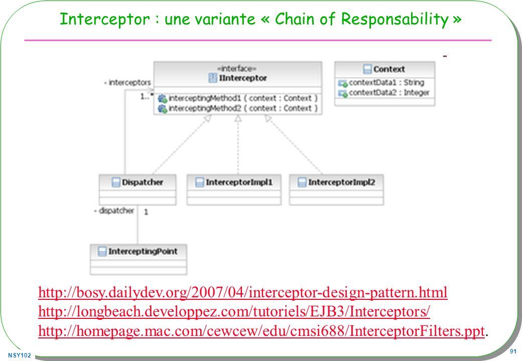 NSY102 91 Interceptor : une variante « Chain of Responsability » http://bosy.dailydev.org/2007/04/interceptor-design-pattern.html http://longbeach.dev