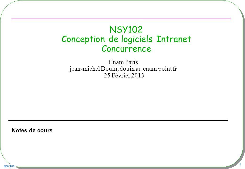 NSY102 22 Linterface Executor Paquetage java.util.concurrent, détaillé par la suite public interface Executor{ void execute(Runnable command) ;} executeRunnable –Executor executor = new ThreadExecutor(); –executor.execute( new T()); –executor.execute( new Runnable(){ …}); import java.util.concurrent.Executor; public class ThreadExecutor implements Executor{ public void execute(Runnable r){ new Thread(r).start(); }