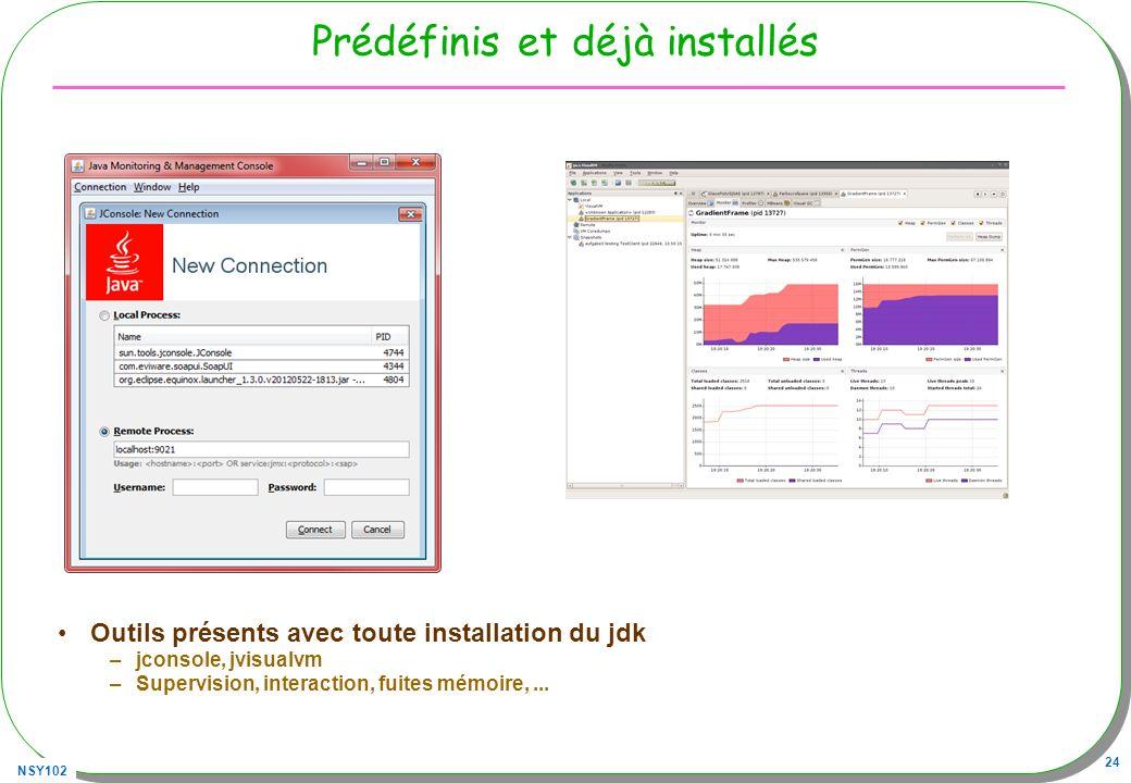 NSY102 24 Prédéfinis et déjà installés Outils présents avec toute installation du jdk –jconsole, jvisualvm –Supervision, interaction, fuites mémoire,.
