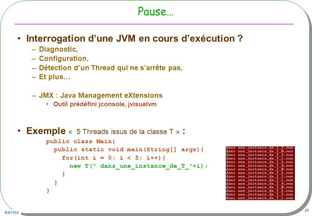 NSY102 25 Pause… Interrogation dune JVM en cours dexécution ? –Diagnostic, –Configuration, –Détection dun Thread qui ne sarrête pas, –Et plus… –JMX :