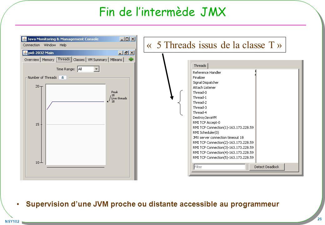 NSY102 26 Fin de lintermède JMX Supervision dune JVM proche ou distante accessible au programmeur « 5 Threads issus de la classe T »