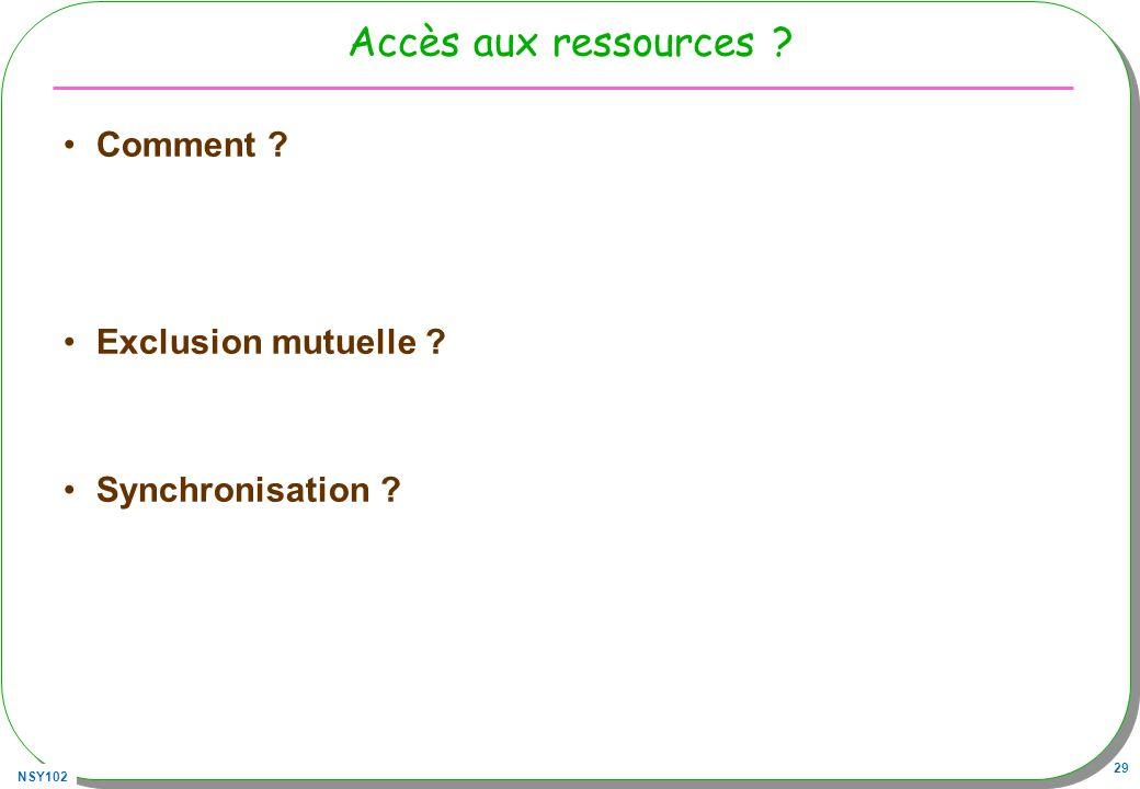 NSY102 29 Accès aux ressources ? Comment ? Exclusion mutuelle ? Synchronisation ?