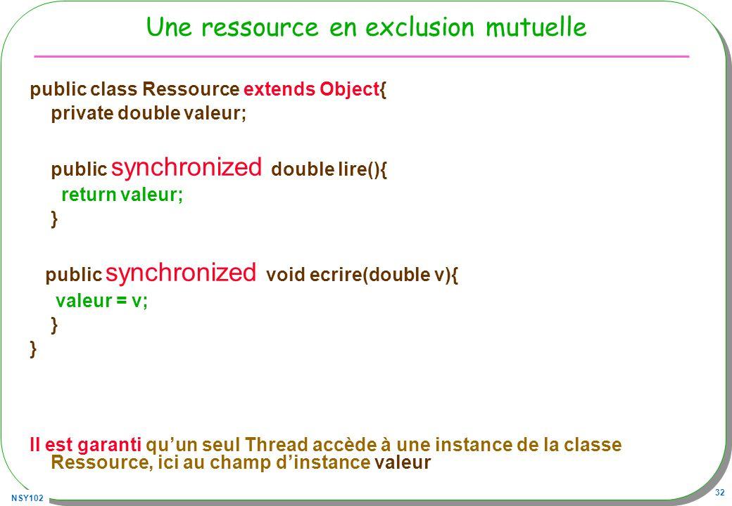 NSY102 32 Une ressource en exclusion mutuelle public class Ressource extends Object{ private double valeur; public synchronized double lire(){ return