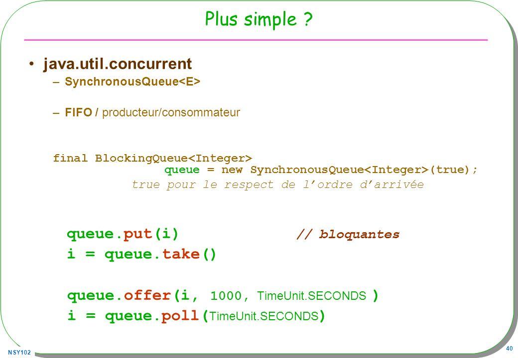 NSY102 40 Plus simple ? java.util.concurrent –SynchronousQueue –FIFO / producteur/consommateur final BlockingQueue queue = new SynchronousQueue (true)