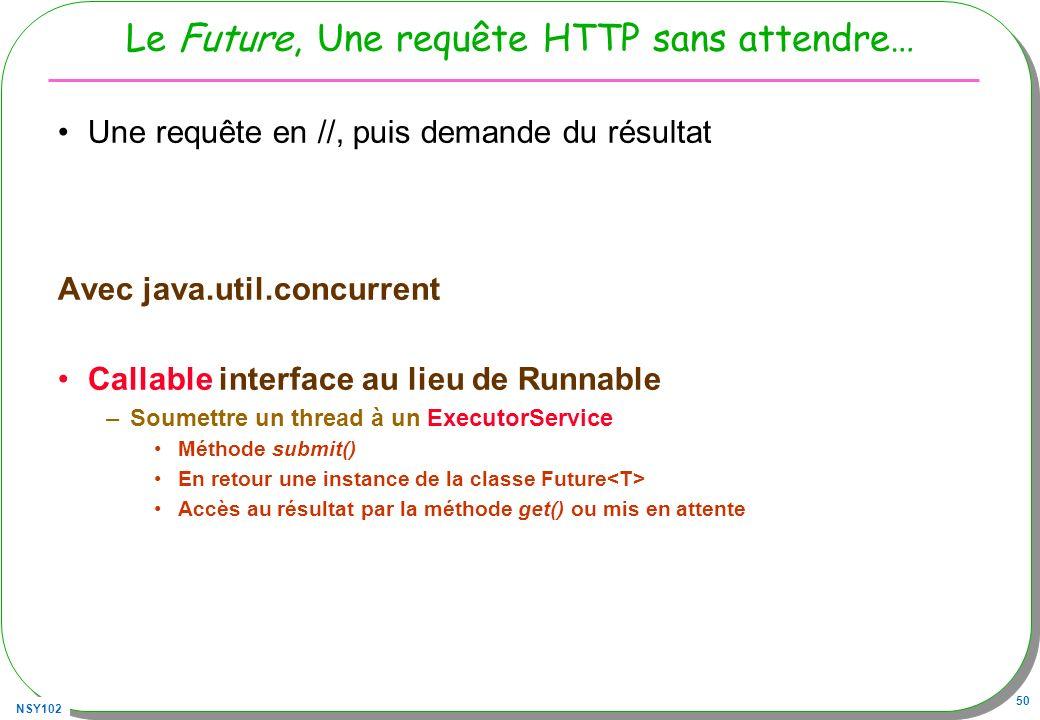NSY102 50 Le Future, Une requête HTTP sans attendre… Une requête en //, puis demande du résultat Avec java.util.concurrent Callable interface au lieu