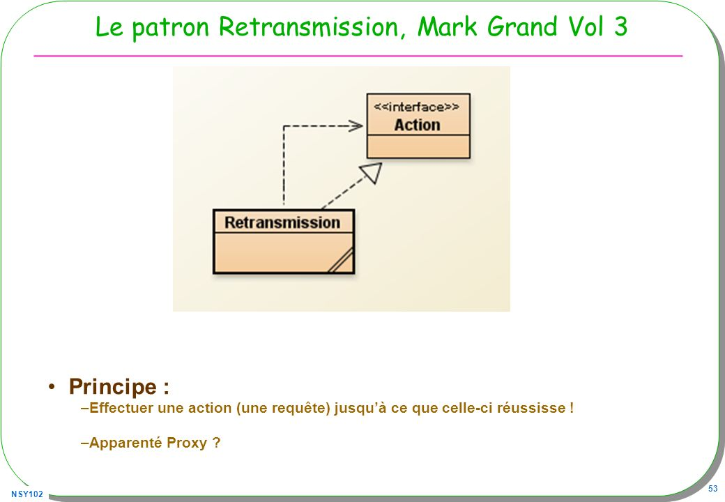 NSY102 53 Le patron Retransmission, Mark Grand Vol 3 Principe : –Effectuer une action (une requête) jusquà ce que celle-ci réussisse ! –Apparenté Prox