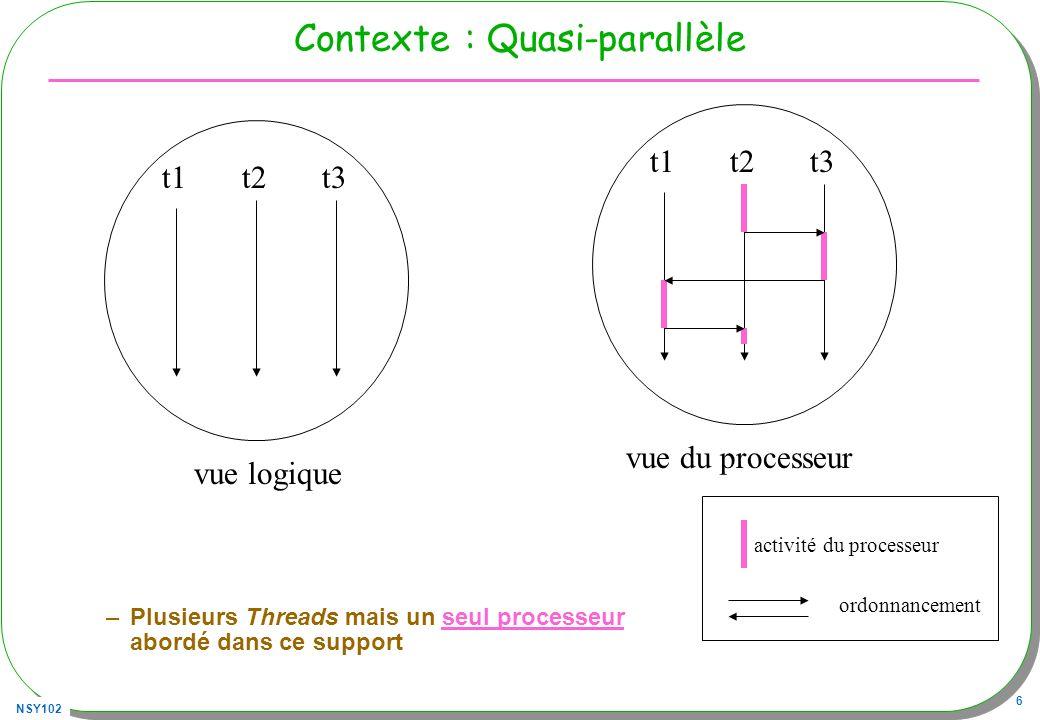 NSY102 7 La classe Thread La classe Thread est prédéfinie (package java.lang) Syntaxe : Création d une nouvelle instance (comme d habitude) –Thread unThread = new T (); … (T extends Thread) (un(e) Thread pour processus allégé...) Puis 1) Éligibilité du processus –unThread.start(); 2) Exécution du processus Lordonnanceur choisit unThread exécute la méthode run() –Soit lappel par lordonnanceur (et uniquement) de la méthode run (ici unThread.run();)