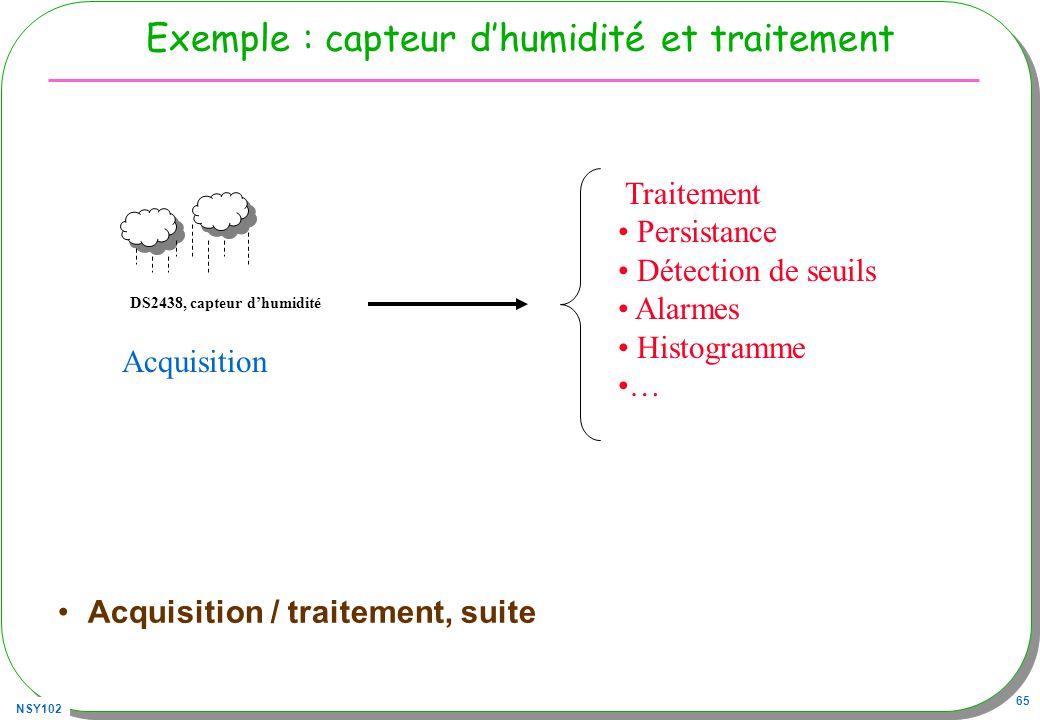 NSY102 65 Exemple : capteur dhumidité et traitement Acquisition / traitement, suite DS2438, capteur dhumidité Acquisition Traitement Persistance Détec