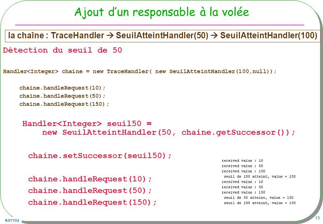 NSY102 73 Ajout dun responsable à la volée Détection du seuil de 50 Handler chaine = new TraceHandler( new SeuilAtteintHandler(100,null)); chaine.hand