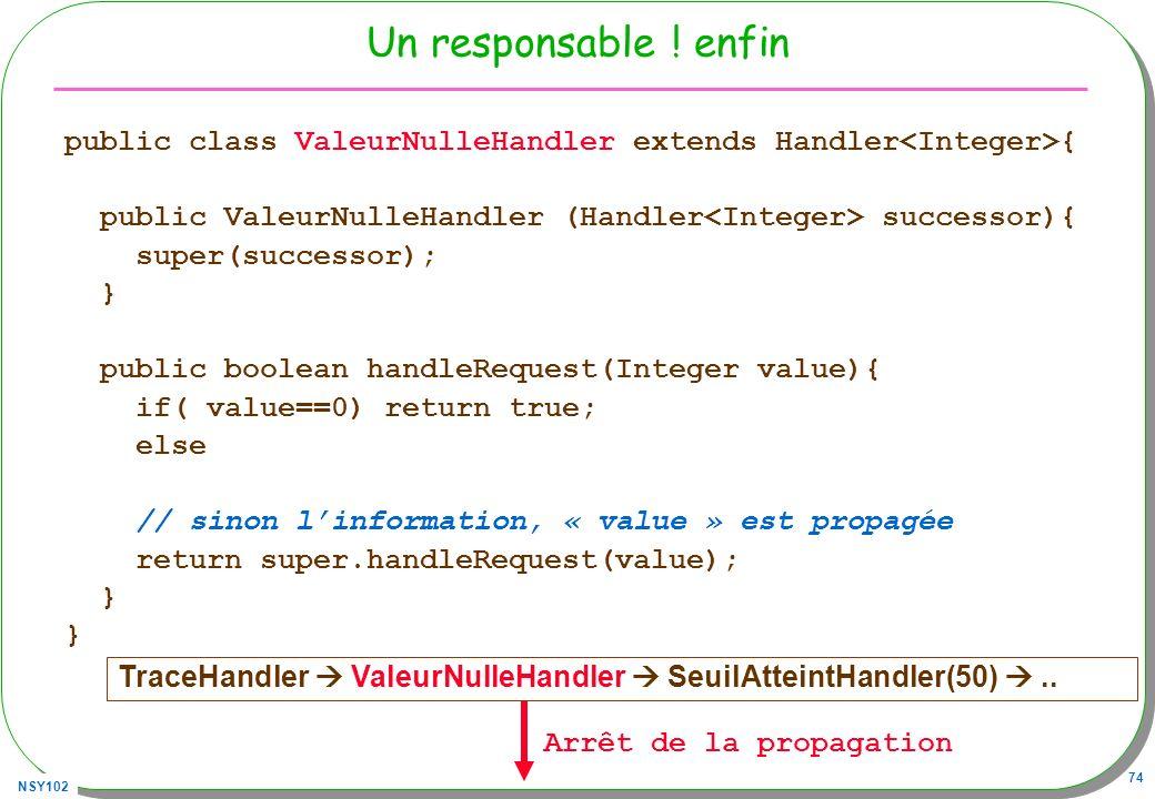 NSY102 74 Un responsable ! enfin public class ValeurNulleHandler extends Handler { public ValeurNulleHandler (Handler successor){ super(successor); }