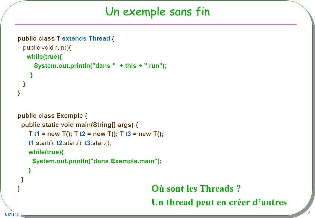 NSY102 9 Remarques sur l exemple –Un Thread est déjà associé à la méthode main pour une application Java (ou au navigateur dans le cas d applettes).
