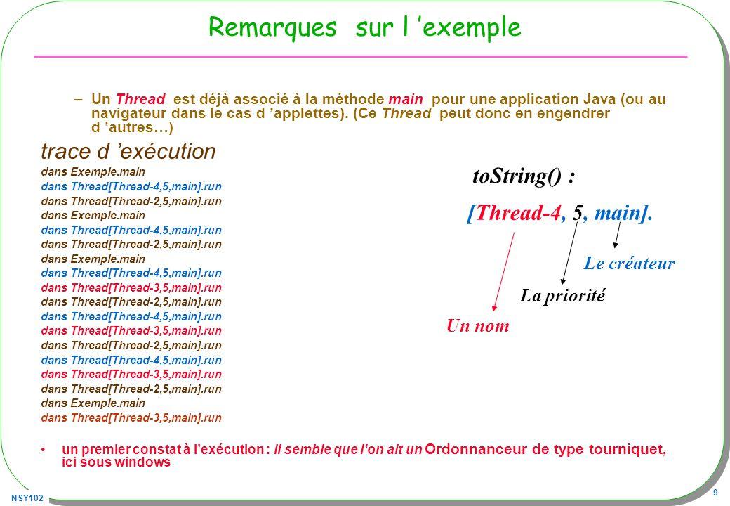 NSY102 10 La classe java.lang.Thread Quelques méthodes Les constructeurs publics Thread(); // création Thread(Runnable target); … Les méthodes publiques void start(); // éligibilité void run(); // instructions du Thread void interrupt(); // arrêt programmé boolean interrupted(); void stop(); // deprecated static void sleep(long ms); // arrêt pendant un certain temps static native Thread currentThread();