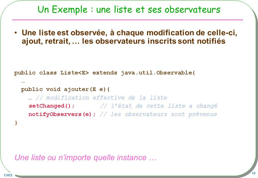 ESIEE 18 Un Exemple : une liste et ses observateurs Une liste est observée, à chaque modification de celle-ci, ajout, retrait, … les observateurs insc