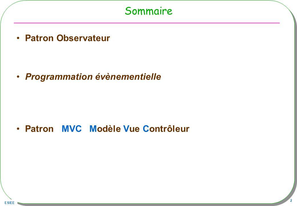 ESIEE 43 Proposition avant discussion MVC proposé : –Le Contrôleur est un JPanel, Transforme les actions sur les boutons ou lentrée dune opérande en opérations sur le Modèle –Le Modèle est une Pile Est un « Observable » –La Vue est un JPanel, Observateur du Modèle, la vue affiche létat du Modèle à chaque notification contrôleur Vue – ou bien Le Modèle est une calculette qui utilise une pile Est un « Observable »