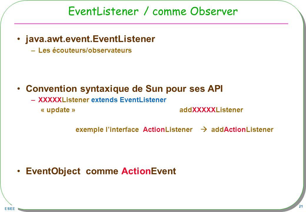 ESIEE 21 EventListener / comme Observer java.awt.event.EventListener –Les écouteurs/observateurs Convention syntaxique de Sun pour ses API –XXXXXListe