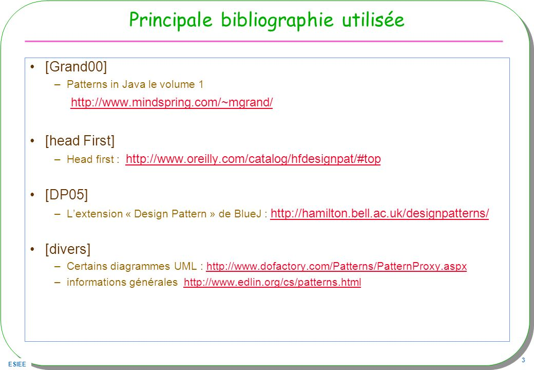 ESIEE 4 Patrons/Patterns pour le logiciel Origine C.