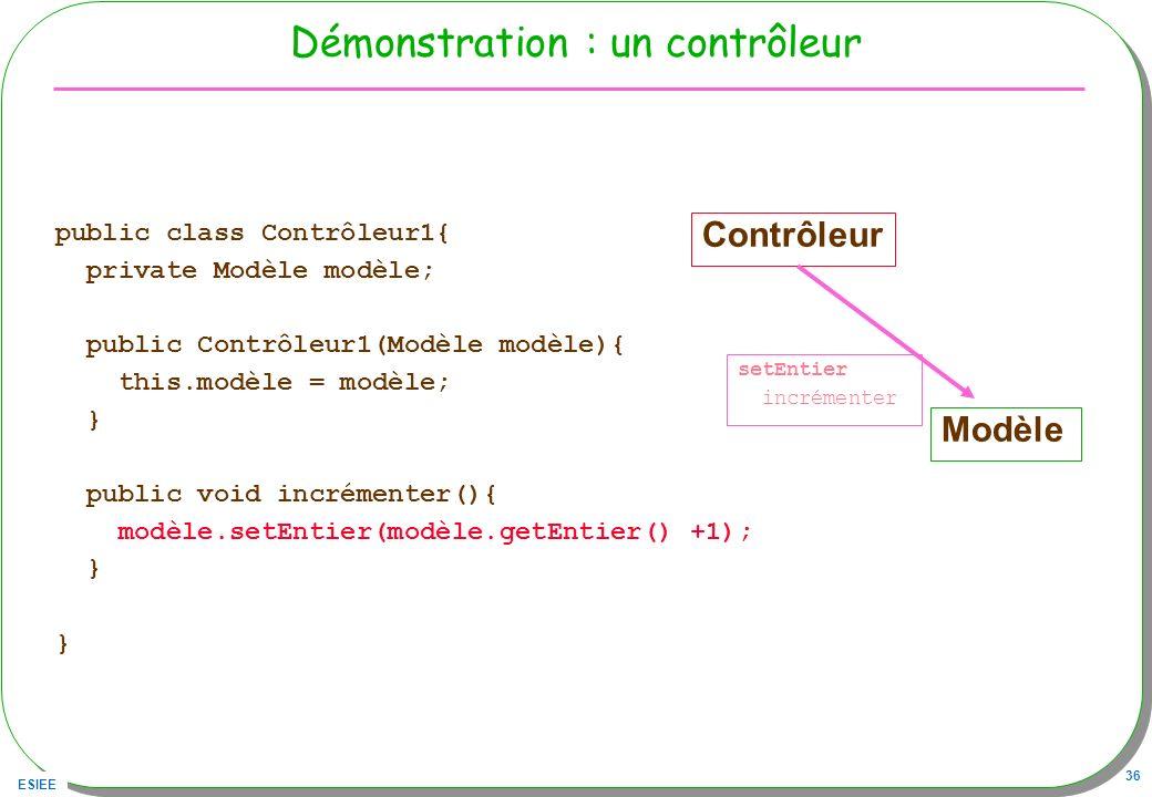 ESIEE 36 Démonstration : un contrôleur public class Contrôleur1{ private Modèle modèle; public Contrôleur1(Modèle modèle){ this.modèle = modèle; } pub