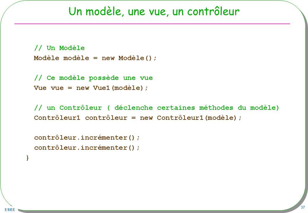 ESIEE 37 Un modèle, une vue, un contrôleur // Un Modèle Modèle modèle = new Modèle(); // Ce modèle possède une vue Vue vue = new Vue1(modèle); // un C