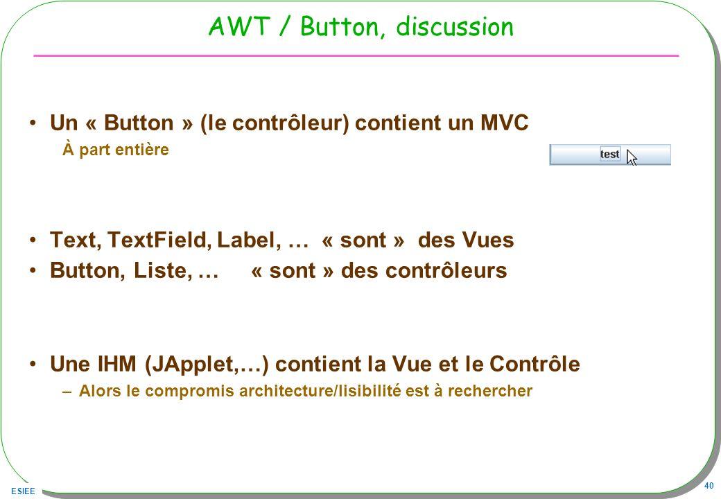 ESIEE 40 AWT / Button, discussion Un « Button » (le contrôleur) contient un MVC À part entière Text, TextField, Label, … « sont » des Vues Button, Lis