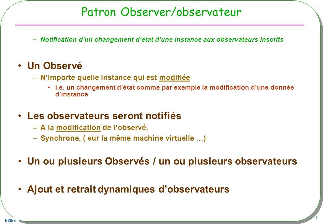 ESIEE 7 Patron Observer/observateur –Notification dun changement détat dune instance aux observateurs inscrits Un Observé –Nimporte quelle instance qu