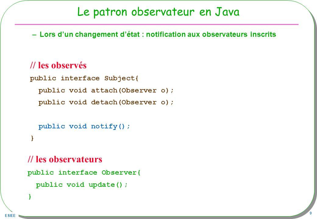 ESIEE 9 Le patron observateur en Java –Lors dun changement détat : notification aux observateurs inscrits // les observateurs public interface Observe