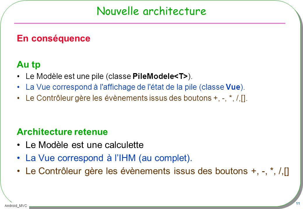 Android_MVC 11 Nouvelle architecture En conséquence Au tp Le Modèle est une pile (classe PileModele ). La Vue correspond à l'affichage de l'état de la