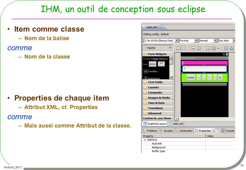 Android_MVC 19 IHM, un outil de conception sous eclipse Item comme classe –Nom de la balise comme –Nom de la classe Properties de chaque item –Attribu