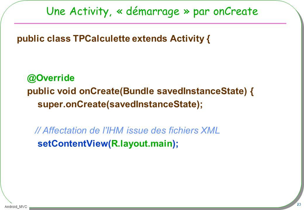 Android_MVC 23 Une Activity, « démarrage » par onCreate public class TPCalculette extends Activity { @Override public void onCreate(Bundle savedInstan