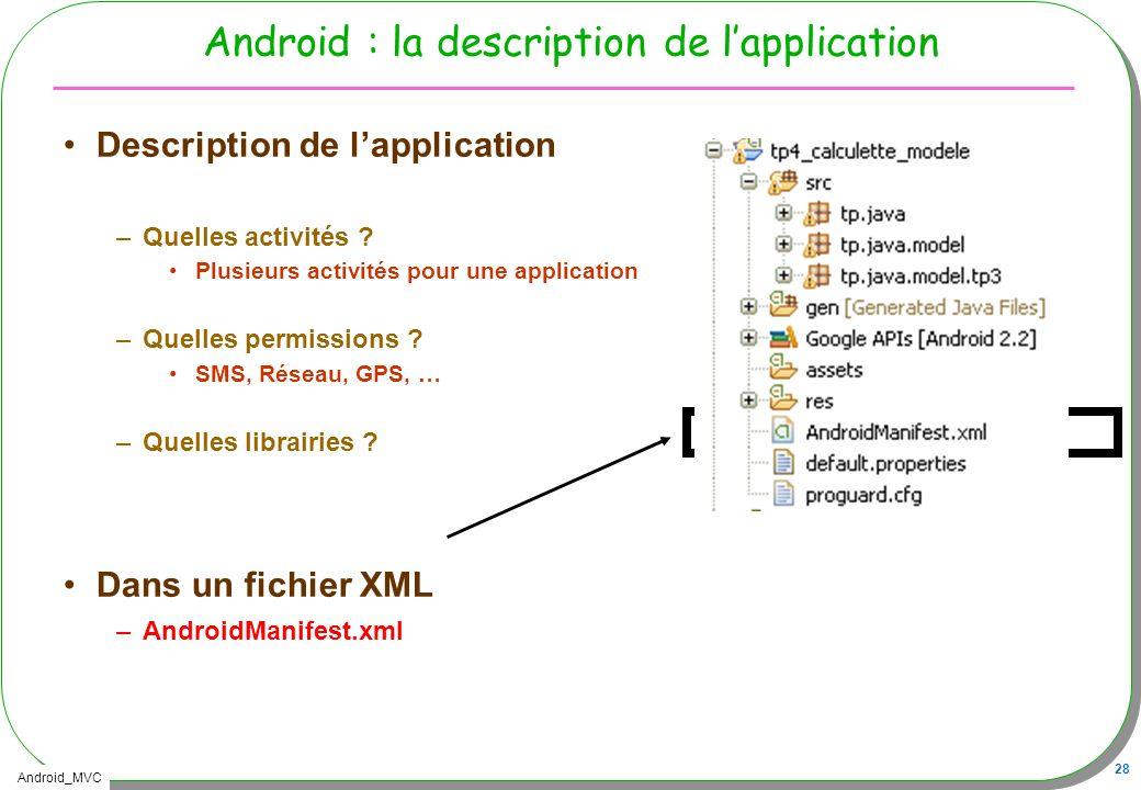 Android_MVC 28 Android : la description de lapplication Description de lapplication –Quelles activités ? Plusieurs activités pour une application –Que