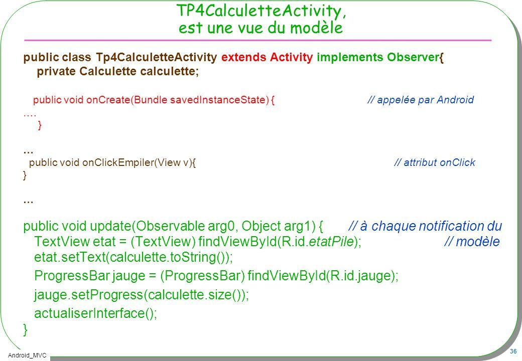 Android_MVC 36 TP4CalculetteActivity, est une vue du modèle public class Tp4CalculetteActivity extends Activity implements Observer{ private Calculett