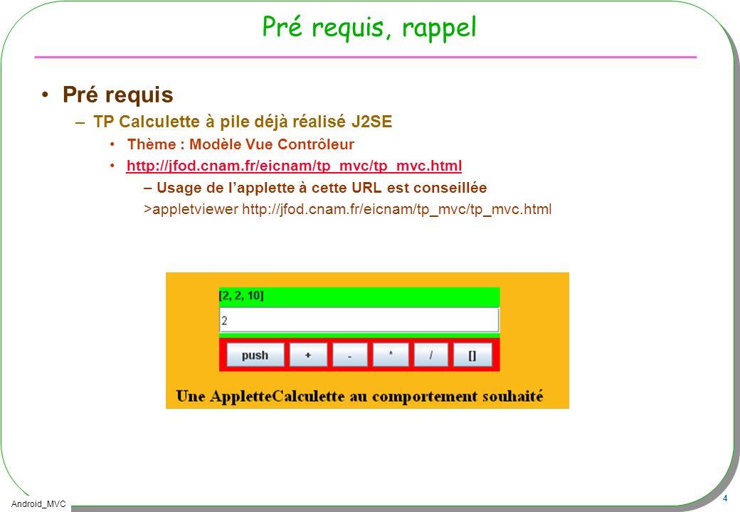 Android_MVC 4 Pré requis, rappel Pré requis –TP Calculette à pile déjà réalisé J2SE Thème : Modèle Vue Contrôleur http://jfod.cnam.fr/eicnam/tp_mvc/tp