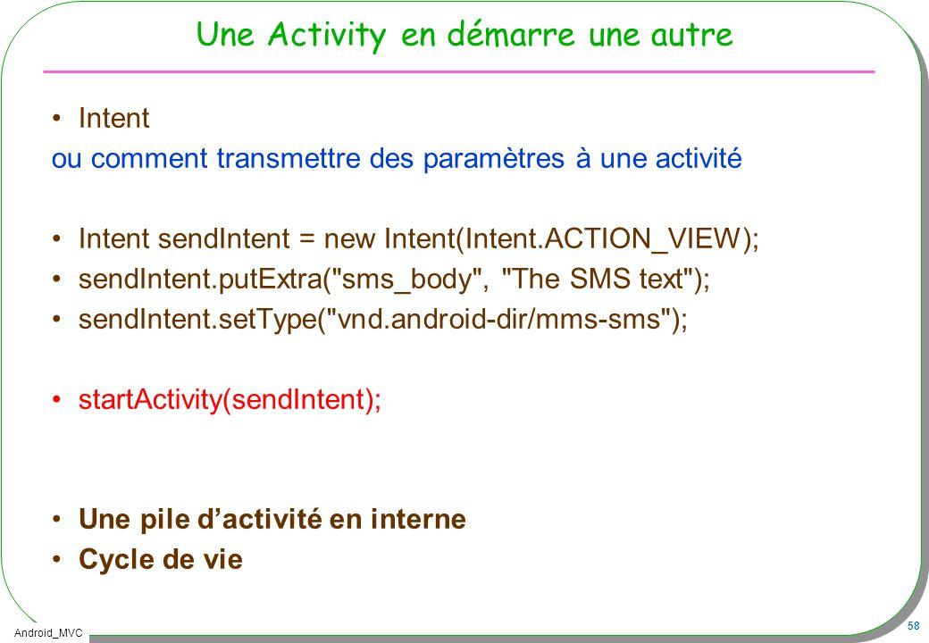Android_MVC 58 Une Activity en démarre une autre Intent ou comment transmettre des paramètres à une activité Intent sendIntent = new Intent(Intent.ACT
