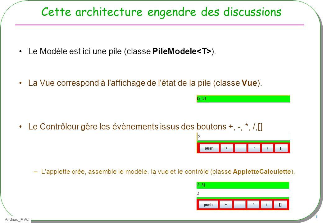 Android_MVC 7 Cette architecture engendre des discussions Le Modèle est ici une pile (classe PileModele ). La Vue correspond à l'affichage de l'état d