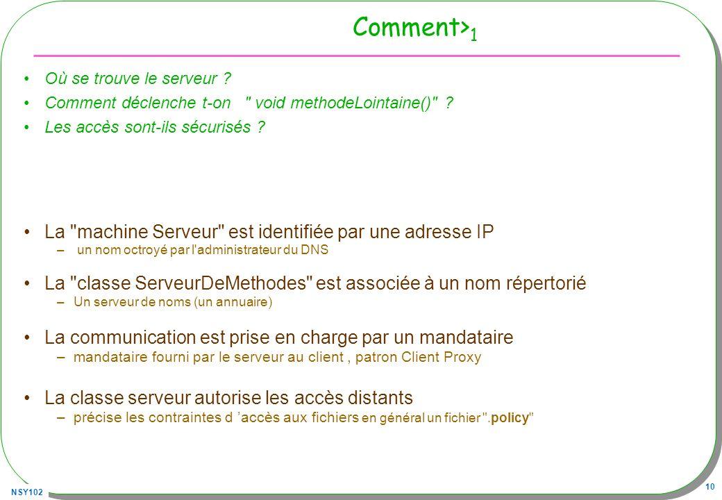 NSY102 10 Comment> 1 Où se trouve le serveur ? Comment déclenche t-on