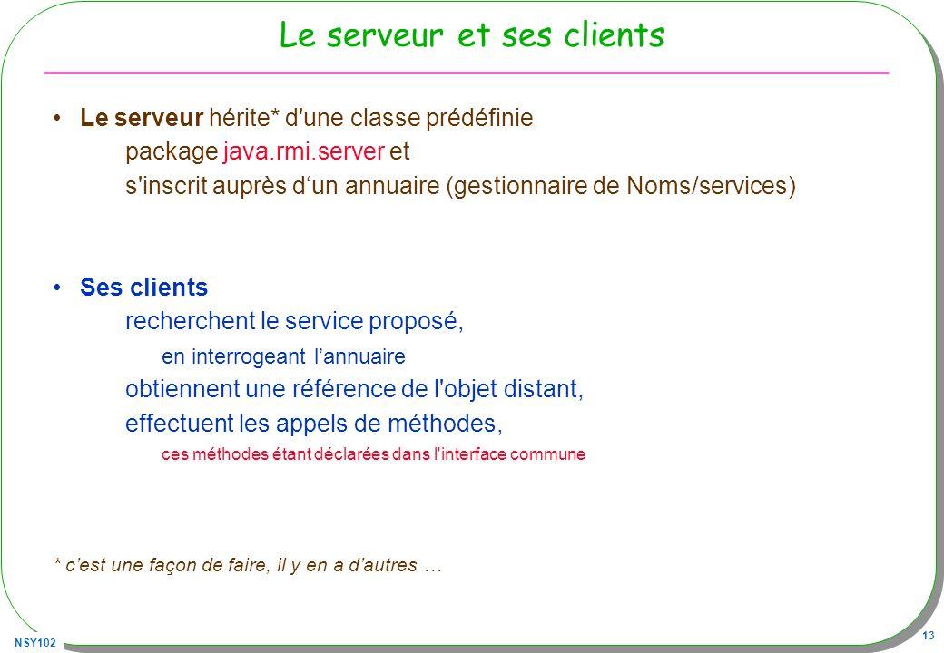 NSY102 13 Le serveur et ses clients Le serveur hérite* d'une classe prédéfinie package java.rmi.server et s'inscrit auprès dun annuaire (gestionnaire
