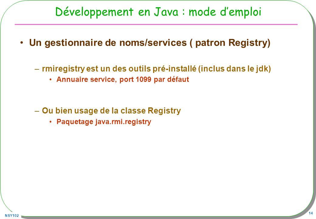 NSY102 14 Développement en Java : mode demploi Un gestionnaire de noms/services ( patron Registry) –rmiregistry est un des outils pré-installé (inclus