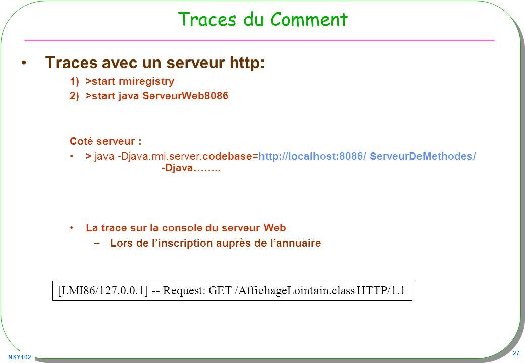 NSY102 27 Traces du Comment Traces avec un serveur http: 1)>start rmiregistry 2)>start java ServeurWeb8086 Coté serveur : > java -Djava.rmi.server.cod
