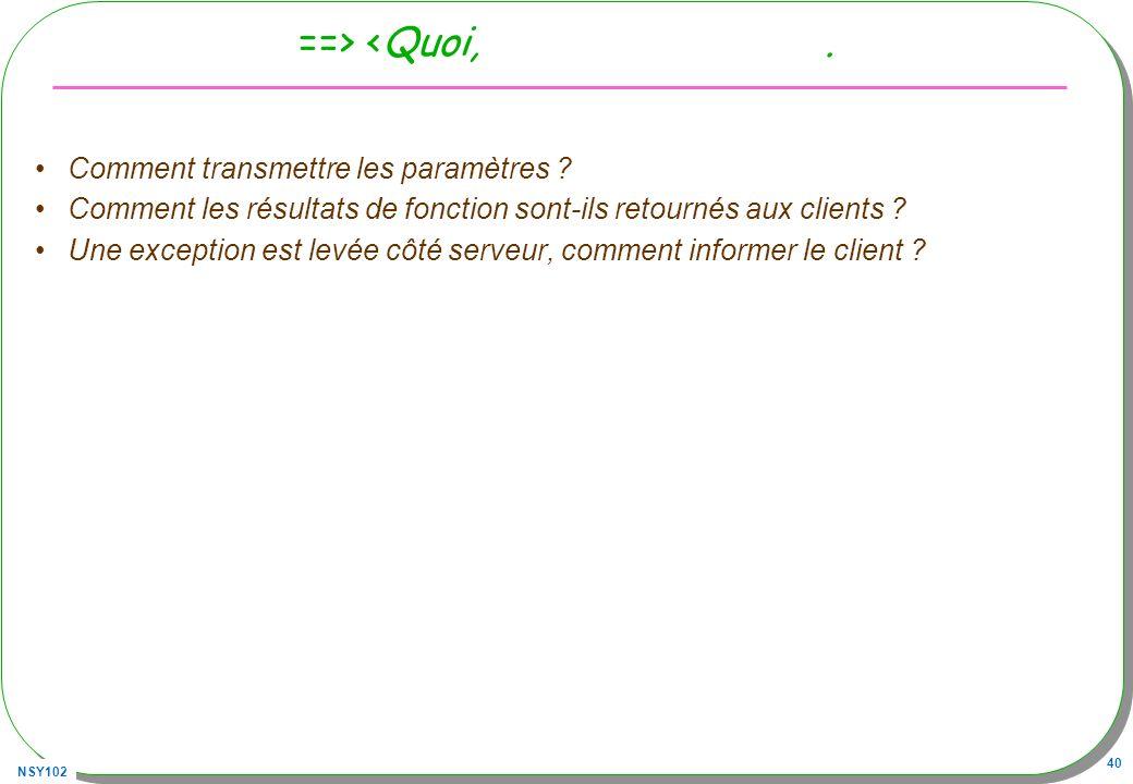 NSY102 40 ==> <Quoi,. Comment transmettre les paramètres ? Comment les résultats de fonction sont-ils retournés aux clients ? Une exception est levée